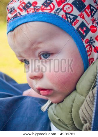 Worried Baby Boy Showing Expressions