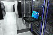 Creative business, web telecommunication, internet technology connection, cloud computing and networking connectivity concept: terminal display in server room with server racks in datacenter interior poster