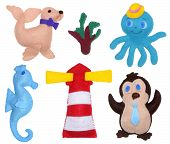 Penguin octopus seahorse sea calf and lighthouse - kids toys poster