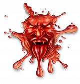 Scary blood with an evil halloween vampire character splattered and dripping on a white background as a spooky symbol of danger and fear as paranormal fantasy icon. poster