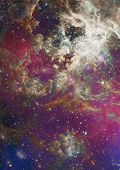 Far being shone nebula and star field against space. poster