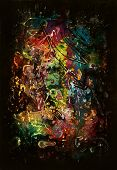 a colorful abstract picture painted my me named Chaos Formation. It contains  unique post processed various mixed paint poster