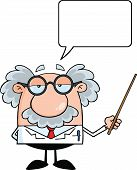 Funny Scientist Or Professor Holding A Pointer With Speech Bubble Cartoon Character poster
