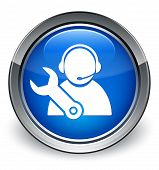 Tech Support Icon On Glossy Blue  Round Button poster