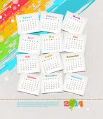 Vector design template - Cardboards with calendar of 2014 on a grunge colorful painted background poster