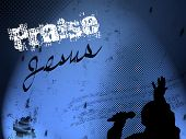 """JPEG illustration of gospel singer in silhouette on blue gradient background. Text """"Praise Jesus"""" conveys overall message. Good choice for variety of Christian web or print uses. Some grunge elements included also. poster"""