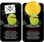 Cute monster with dollar coin and e-mail. Vector illustration. poster