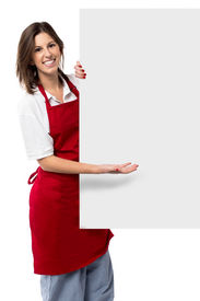 Pretty Female Chef Holding A Blank Sign