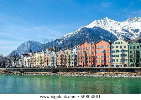 Beautiful houses ob banks of river Inn in Innsbruck city, Austria poster