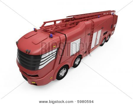 Future Concept Of Firetruck Isolated View