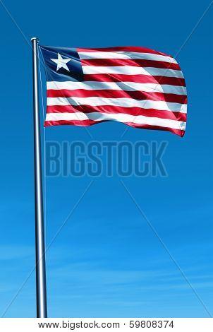 Liberia flag waving on the wind