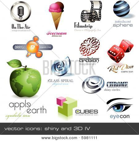 vector icons: shiny and 3d