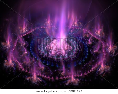 Futuristic Purple With Blue Burning Energy. High Detailed Rendered Artwork. Good As Background, Back