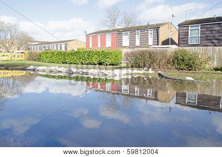 Sandbags and flood waters, Basingstoke