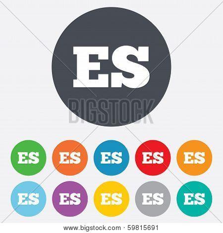Spanish language sign icon. ES translation.