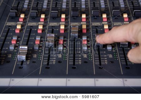 Faders At Mixing Pult