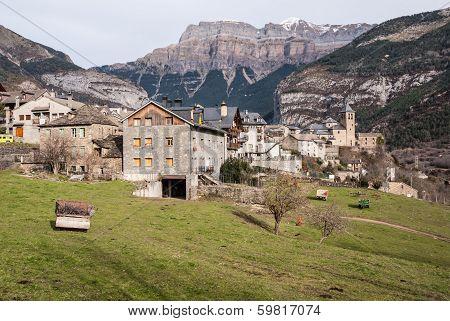 Mountain Town, Torla, Pyrenees, Ordesa Y Monte Perdido National Park, Spain