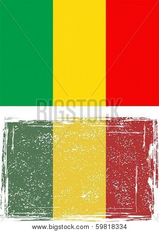 Malian grunge flag. Vector illustration.
