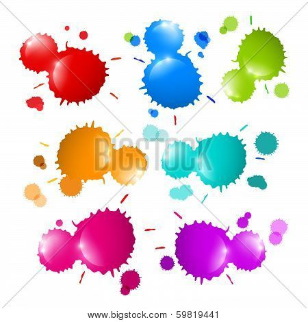Colorful Stains, Blots, Splashes Set Isolated on White Background