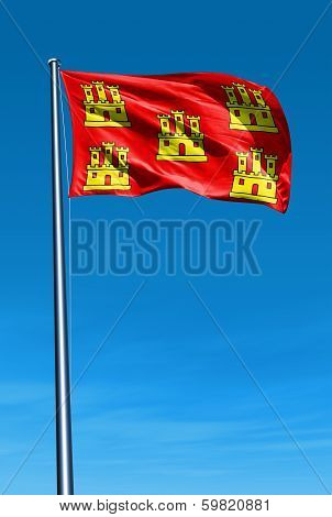 Poitou-Charentes (France) flag waving on the wind