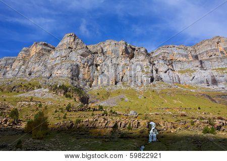 Circo de Soaso Monte Perdido in Ordesa Valley at Huesca Aragon Pyrenees spain