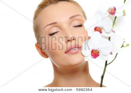 Beautiful Serene Female Face With Flowers