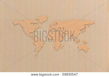 World map made of corrugated fiberboard