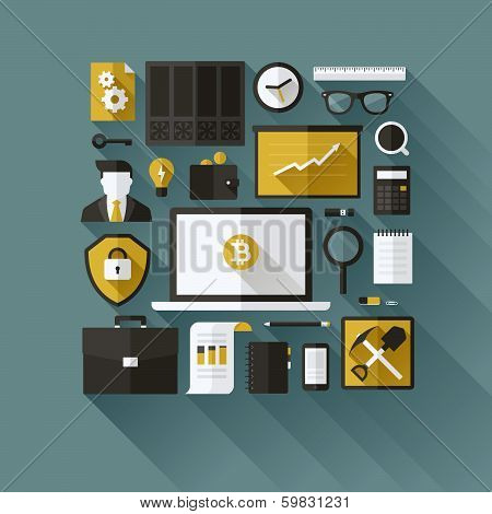 Bitcoin Essentials. Modern Flat Vector Design Elements