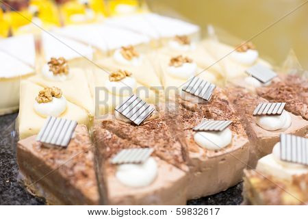 Cake displayed in shop window of confectionery or caf poster
