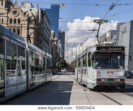 Trams Running In Melbourne, Australia