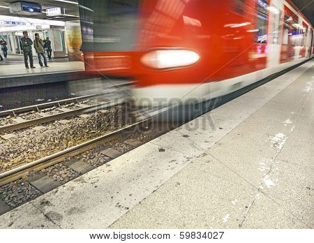 Departing, Arriving Subway As Speed Symbol In The  Station