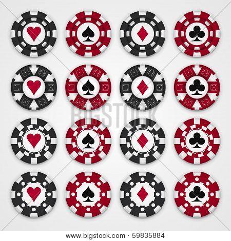 Nice set of casino gambling chips