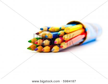 Set Of Colour Pencils In A Box On A White Background