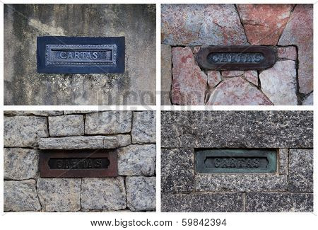 Collage With Postboxes On Stone Walls In Brazil