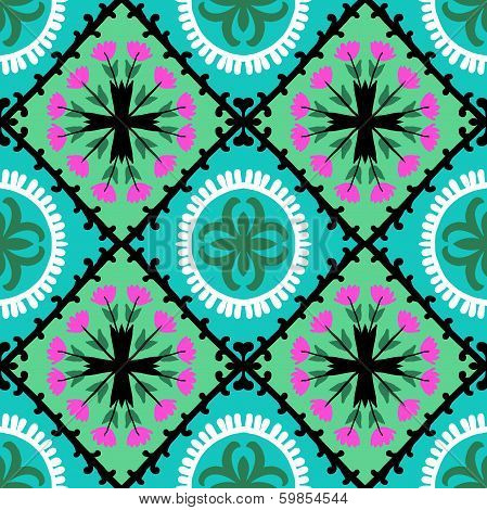 Suzani, vector seamless ethnic pattern with Uzbek, Turkish and Kazakh motifs. in bright vibrant colors. Texture for web, print, wallpaper, home decor, summer fall fashion textile, fabric, ceramic tile poster