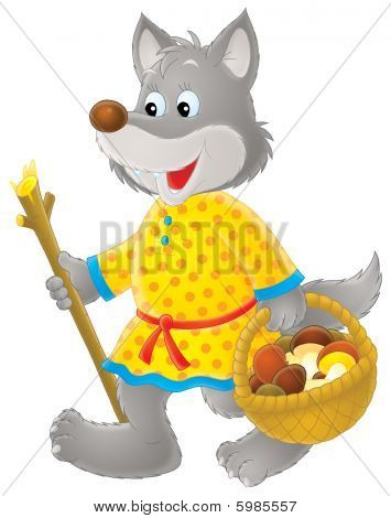 Isolated clip-art / funny character Grey Wolf for childrens design poster