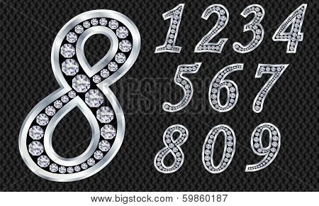 Numbers set, from 1 to 9, silver with diamonds, vector illustration
