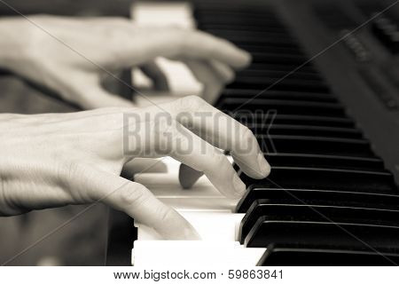 Hands Of The Musician On A Synthesizer