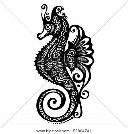 Vector Sea Horse. Patterned design