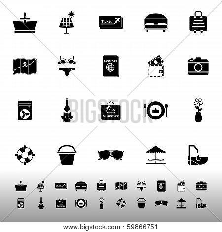 Summer Icons On White Background