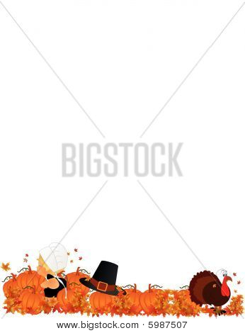 Lil Pilgrim girl in pumpkin patch with turkey and her father's hat poster