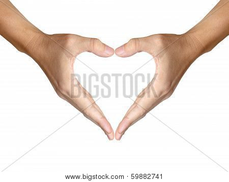 two hands make heart shape on white background