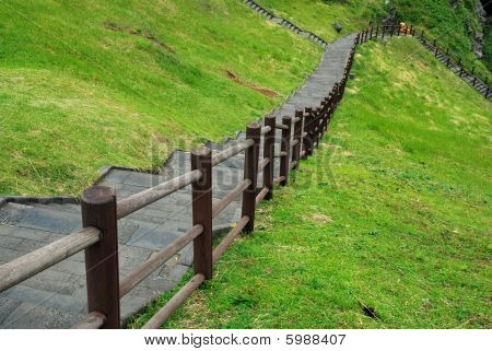Long Flight Of Stairs Leading Down