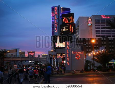 LAS VEGAS - APRIL 24 2012:  Ballys hotel at sunset, one of the premiere hotel on the famous Las Vegas strip