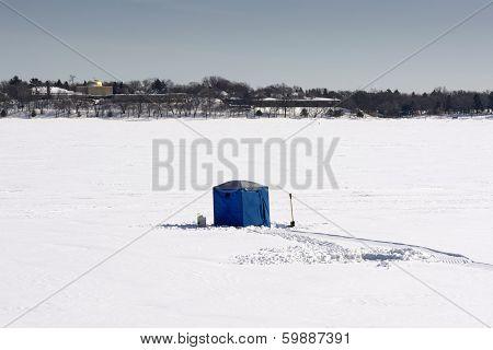 Ice fishing hut on lake Calhoun, Minneapolis, Minnesota, USA
