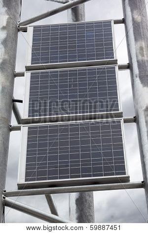 Solar battery panels mounted on metal frame