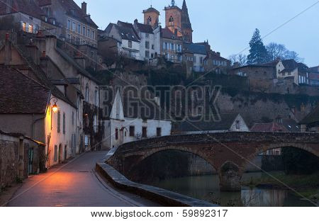 Foggy Night in Semur-en-Auxois. Burgundy, France. Pont Pinard