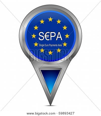 blue map pointer with sepa - single euro payments area poster