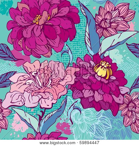 Floral Seamless Pattern With Hand Drawn Flowers -  Chrysanthemum And Peony.