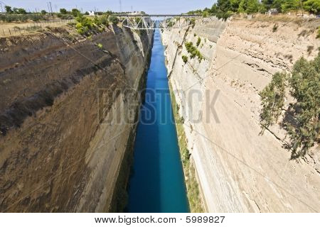 Canal water passage of Corinthos in Europe, Greece